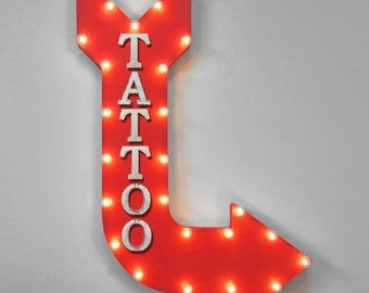 "ON SALE! 36"" TATTOO Ink Design Art Shop Parlor Double Sided Hanging Suspended Hang Rustic Metal Marquee Arrow Light Up Sign"