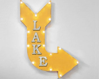 """On Sale! 24"""" LAKE Curved Metal Arrow Sign - Water Camp Ocean Swim Swimming Pool Fishing Boat Boating - Rustic Vintage Marquee Light Up"""