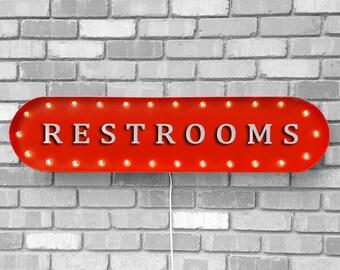 "On Sale! 39"" RESTROOMS Metal Oval Sign - Bathroom Mens Womens Gentlemen Ladies Restroom The Potty - Vintage Style Rustic Marquee Light Up"