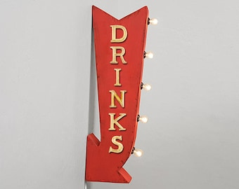"""On Sale! 25"""" DRINKS Beverages Drinks Bar Shots Plugin or Battery Operated Rustic led Double Sided Rustic Metal Arrow Marquee Light Up Sign"""
