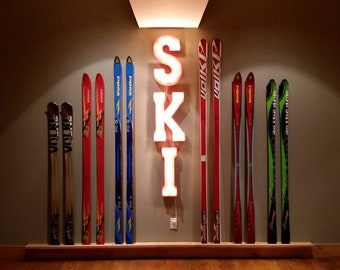 "On Sale! 21"" SKI Metal Sign - Slopes Snow Skis Mountain Rental Free Stand or Hang - Rustic Vintage Style Marquee Light Up Letters"