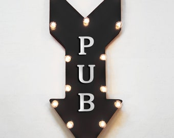 "On Sale! 24"" PUB Straight Arrow Sign - Bar Drinks Alcohol Liquor Beer Wine Martini - Rustic Vintage Marquee Light Up"