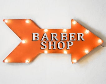 """On Sale! 24"""" BARBER SHOP Straight Metal Arrow Sign - Parlor Salon Hair Haircut - Rustic Vintage Marquee Light Up"""