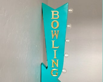 "On Sale! 25"" BOWLING Alley Lanes Open Bowl Pin Pins Plugin Battery Operated Rustic led Double Sided Rustic Metal Arrow Marquee Light Up Sign"