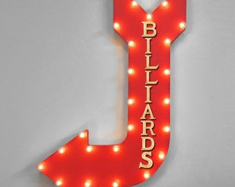 """On Sale! 36"""" BILLIARDS Metal Arrow Sign - Plugin or Battery Operated - Play Pool Table Stick Bar - Rustic Marquee Light up"""
