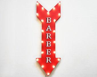 "On Sale! 36"" BARBER Metal Arrow Sign - Plugin, Battery or Solar - Beard Shave Hair Beauty Salon Parlor Cuts Groom - Rustic Marquee Light Up"
