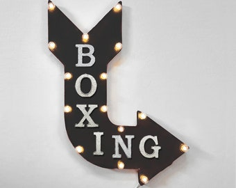 "On Sale! 24"" BOXING Curved Metal Arrow Sign - Box Ring Knockout KO Gloves - Rustic Vintage Marquee Light Up"