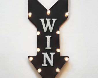 "On Sale! 24"" WIN Straight Arrow Sign - Winner Lucky 777 Gamble Casino Arcade - Rustic Vintage Marquee Light Up"