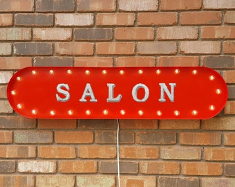 """On Sale! 39"""" SALON Metal Oval Sign - Hair Shop Parlor Place Boutique - Vintage Style Rustic Marquee Light Up"""