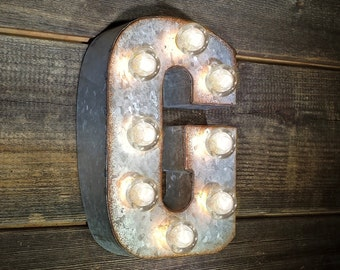 "On Sale! 7"" Letter G - Metal Sign - Plugin - Small Rustic Marquee LED Alphabet Light Up"