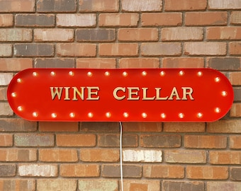 """On Sale! 39"""" WINE CELLAR Vineyard Tasting Red White Grapes Nostalgic Vintage Style Rustic Metal Marquee Light Up Sign."""