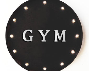 """On Sale! 20"""" GYM Round Metal Sign - Plugin, Battery or Solar - Health Exercise Weights Work Out - Rustic Vintage Marquee Light Up Sign"""