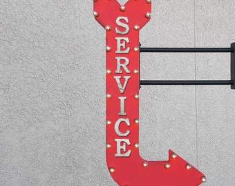 """On Sale! 48"""" SERVICE Metal Arrow Sign - Station Auto Mechanic Garage Shop Repair - Double Sided Hang or Suspend - Rustic Marquee Light Up"""