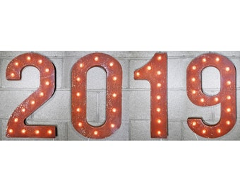ON SALE! Plugin. 2019 Happy New Year Years Party Free Standing or Hang Hooks. Rustic Metal Vintage Marquee Light Up Sign Numbers 23 Colors