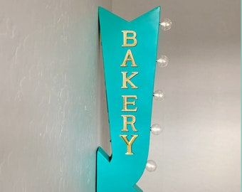 "ON SALE! 25"" BAKERY Sweets Pastries Treats Cafe Plug-In or Battery Operated Rustic led Double Sided Rustic Metal Arrow Marquee Light Up Sign"