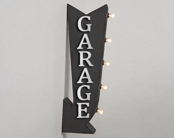 """On Sale! 25"""" GARAGE Metal Arrow Sign - Park Here Parking - Plugin or Battery Operated Rustic led Double Sided Rustic Marquee Light Up"""