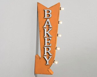 """On Sale! 25"""" BAKERY Metal Arrow Sign - Plugin or Battery Operated - Sweets Pastries Treats Cafe - Double Sided Rustic Marquee Light Up"""