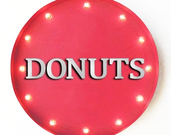 """On Sale! 20"""" DONUTS Round Metal Sign - Plugin or Battery Operated - Donut Dough Bakery Bread Sweet Shop - Rustic Vintage Marquee Light Up"""