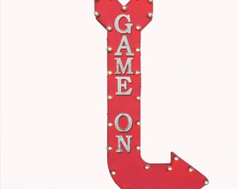"On Sale! 48"" GAME ON Metal Arrow Sign - Play Games Arcade Pool Hall Cue Eight Stick - Double Sided Hang or Suspend - Rustic Marquee Light Up"