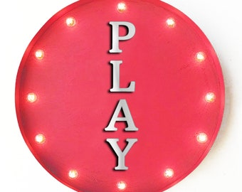 """On Sale! 20"""" PLAY Round Metal Sign - Plugin, Battery or Solar - Fun Kids Toys Game - Rustic Vintage Marquee Light Up Sign"""
