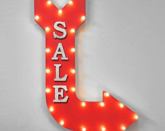 "ON SALE! 36"" SALE Discount Price On Sale Coupon BoGo Double Sided Hanging Suspended Hang Large Rustic Metal Marquee Light Up Sign Arrow"