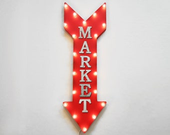 "On Sale! 36"" MARKET Metal Arrow Sign - Plugin or Battery Operated Led - Convenient Store Shop Mart Stop Grocery - Rustic Marquee Light up"