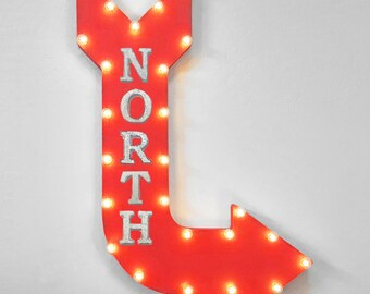"""On Sale! 36"""" NORTH Metal Arrow Sign - Plugin or Battery Operated - Hiking Trail Camp East South West Direction - Rustic Marquee Light up"""