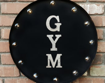 "On Sale! 20"" GYM Round Metal Sign - Plugin or Battery Operated - Health Exercise Weights Work Out - Rustic Vintage Marquee Light Up"