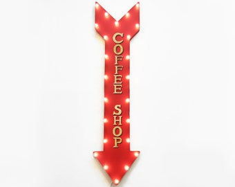 "On Sale! 48"" COFFEE SHOP Cafe Bar Mocha Late Espresso Plugin or Battery Operated led Rustic Metal Light Up Arrow Marquee Sign"