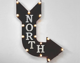 "On Sale! 24"" NORTH Curved Metal Arrow Sign - Compass Direction Up South East West - Rustic Vintage Marquee Light Up"