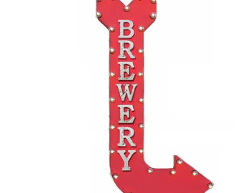 "ON SALE! 48"" BREWERY Beer Wine Bar Alcohol Beverages Plug-In or Battery Operated led Vintage Rustic Metal Curved Arrow Marquee Light Up Sign"