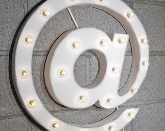 "On Sale! 21"" @ Symbol Metal Sign - Rustic Vintage Style Custom Marquee Light Up Alphabet Letters"