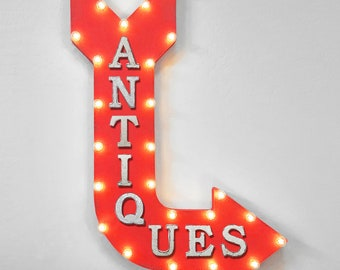 """On Sale! 36"""" ANTIQUES Metal Arrow Sign - Plugin or Battery Operated - Used Furniture Thrift Store Flea Market - Rustic Marquee Light up"""