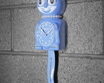 Limited Edition! Official SERENITY BLUE Kit Cat Clock - Lady Girl Female - Jeweled Swarovski Crystals Kit Kat Cat Clock Klock