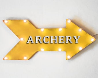"On Sale! 24"" ARCHERY Straight Metal Arrow Sign - Shoot Shooting Bows Arrows Target Practice Range - Rustic Vintage Marquee Light Up"