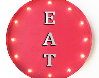 """On Sale! 20"""" EAT Round Metal Sign - Plugin, Battery or Solar - Here Eatery Cafe Restaurant Diner Food - Rustic Vintage Marquee Light Up Sign"""