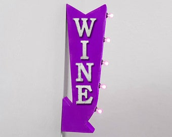 "On Sale! 25"" WINE Metal Arrow Sign - Plugin or Battery Operated - Winery Drinks Vineyard Lounge - Double Sided Rustic Marquee Light Up"