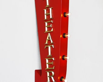 "ON SALE! 25"" THEATER Theatre Movies Popcorn Plug-In or Battery Operated Rustic led Double Sided Rustic Metal Arrow Marquee Light Up Sign"