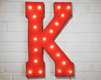 """ON SALE! 21"""" Metal Letter K - Plugin, Battery Operated or Solar Powered - Rustic Nostalgic Vintage Style - Light Up Marquee Letter Sign."""