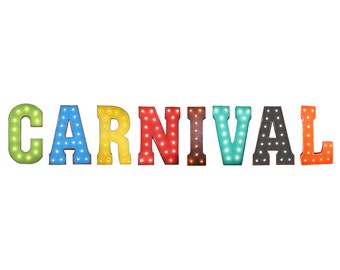 "On Sale! 21"" CARNIVAL Metal Sign - Circus Ferris Ride County Fair Free Standing or Hang - Rustic Vintage Marquee Light Up Letters"