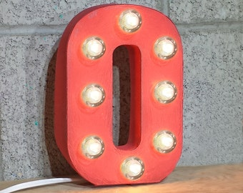 "ON SALE 7"" Letter O - Small Rustic Metal Marquee LED Plugin Sign Alphabet Light Up - 21 Available Colors!"