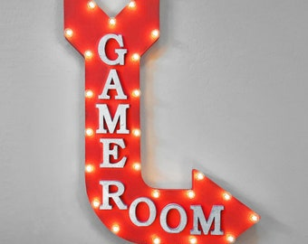 """On Sale! 36"""" GAME ROOM Metal Arrow Sign - Plugin or Battery Operated - Game Room Gamer Light Up Arcade Games - Rustic Marquee Light up"""