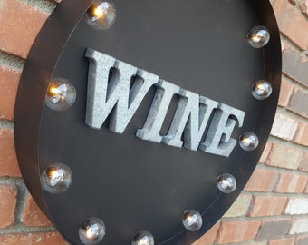 "ON SALE 20"" WINE Plugin or Battery Operated led Rustic Metal Round Marquee Pub Bar Tasting Red White Winery Vineyard Light Up Sign 14 Colors"