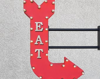 "ON SALE! 36"" EAT Plugin Double Sided Food Snacks Desserts Rustic Metal Arrow Marquee Eatery Bar Cafe Light Up Diner Sign - 14 Colors!"