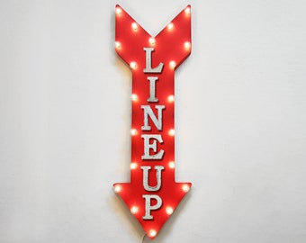 "On SALE! 36"" LINE UP Here Plugin or Battery Operated led Rustic Metal Light Up Arrow Marquee Form Line Here Lineup Wait Here Sign 14 Colors!"