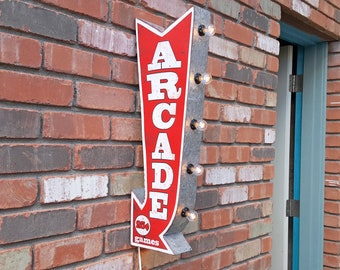 ON SALE! Plug-In or Battery. ARCADE Double Sided Rustic Game Room Gameroom Metal Vintage Style Marquee Light Up Arrow Sign