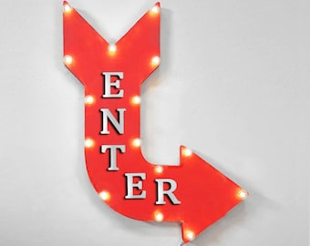 "On Sale! 24"" ENTER Curved Metal Arrow Sign - Store Shop Come In Welcome Enter Here This Way Only - Rustic Vintage Marquee Light Up"