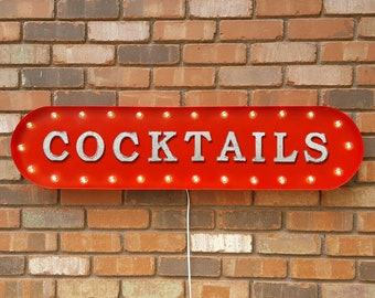 """On Sale! 39"""" COCKTAILS Metal Oval Sign - Drinks Drink Bar Cocktail Martinis Booze Pub Beer - Vintage Style Rustic Marquee Light Up"""