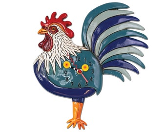 Rise N' Shine Rooster - Whimsical Colorful - Animated Pendulum Wall Clock