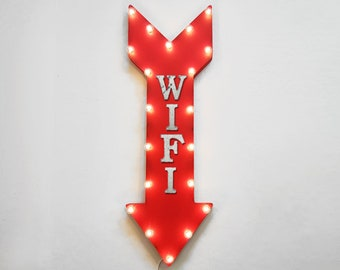 "On Sale! 36"" WIFI Metal Arrow Sign - Plugin or Battery Operated Led - Free Internet Computer Cafe Lounge - Rustic Marquee Light up"
